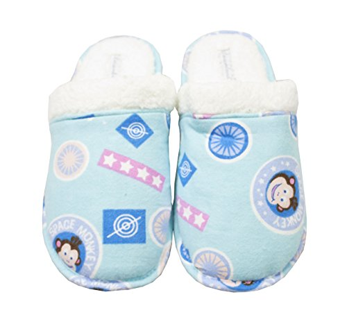 Blue Space Monkey - Leisureland Women's Cotton Flannel Cozy Slippers Space Monkey Blue (XL)