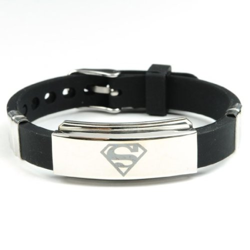 New Men's Black Superman Superhero Bracelet Wristband Fashion Stainless Steel - Superman Stainless Steel Bracelet