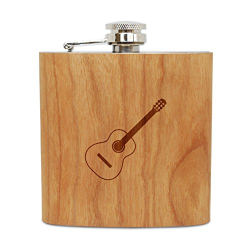 WOODEN ACCESSORIES COMPANY Cherry Wood Flask With Stainless Steel Body - Laser Engraved Flask With Classical Guitar Design - 6 Oz Wood Hip Flask Handmade In USA