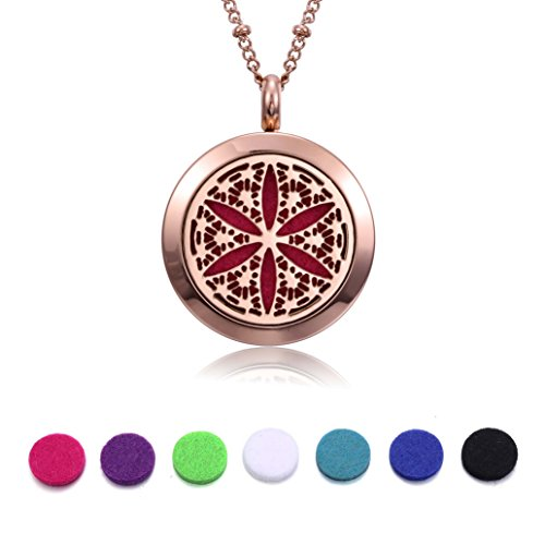 Rose Gold Aromatherapy Essential Oil Diffuser Necklace (Flower of Life), Hypoallergenic Stainless Steel Locket with 23