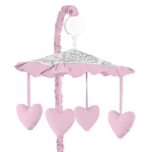 Sweet Jojo Designs Pink, Gray and White Elizabeth Musical Baby Crib Mobile by Sweet Jojo Designs