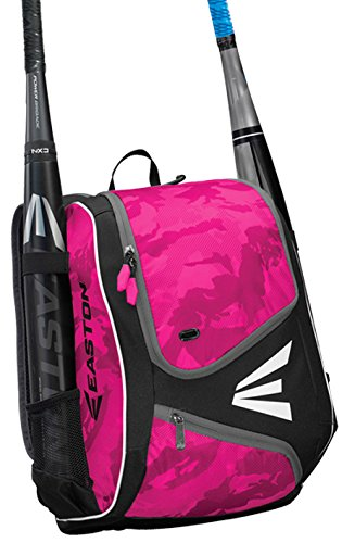 EASTON E110YBP Youth Bat & Equipment Backpack Bag | Baseball Softball | 2019 | Pink | 2 Bat Sleeves | Smart Gear Storage | Valuables Pocket | Rubberized Zipper Pulls | Fence Hook