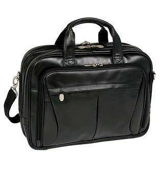 McKleinUSA PEARSON 84565 Black Expandable Double Compartment Briefcase Grain Leather Expandable Computer Briefcase