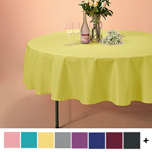 Remedios 90-inch Round Polyester Tablecloth Table Cover - Wedding Restaurant Party Banquet Decoration, Yellow (Table Yellow Round)