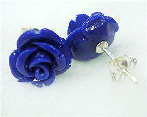 Natural 12mm Blue Lapis Lazuli Rose Flower 925 Sterling Silver Stud Earrings