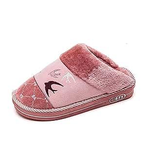 SHANGXIAN Invierno Interior Pantuflas Peludo Hogar Mujer Calentar Suelas Antideslizantes Forro De Felpa Zapatos Chancletas,Red,36/37: Amazon.es: Hogar