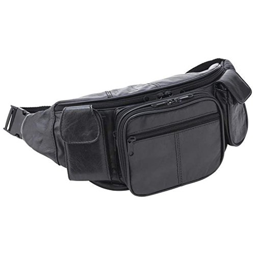 Letter Love Beautiful Large Black Leather Fanny Pack Mens...
