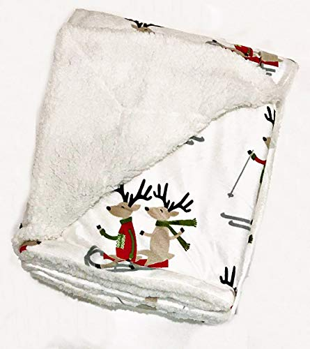 Thro by Marlo Lorenz Christmas Holiday Plush Fleece Lined Sherpa Throw Blanket | Whimsical Reindeer on Skis and Sleds | White Satin Sheen | 50