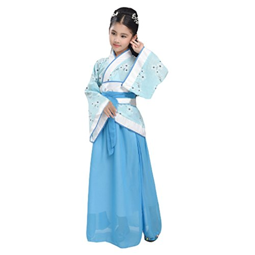 Han Chinese Costume Show (Ez-sofei Girls Ancient Chinese Traditional Costumes Hanfu (130, D-Blue))