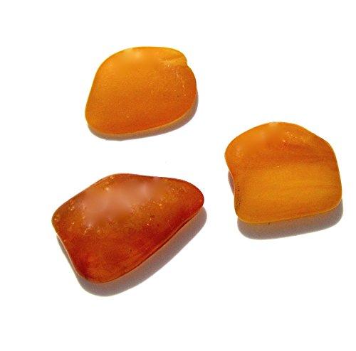 - Raw Antique Amber Flat Gemstones Very Small Set of 3 Stones