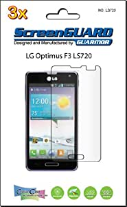 3x LG Optimus F3 VM720 (For Virgin mobile) Premium Clear LCD Screen Protector Kit, Exact fit, no cutting. (GUARMOR Brand)