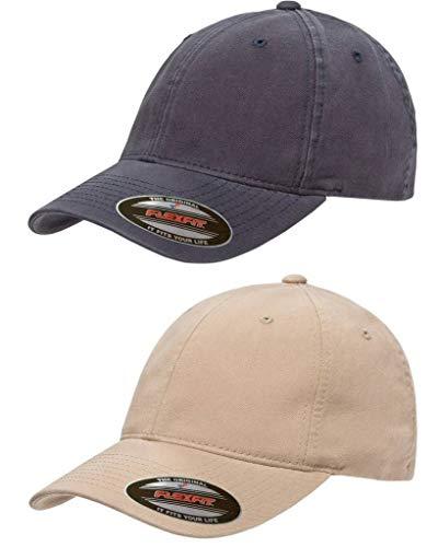 (Flexfit Garment Washed Cotton Dad Hat   Low Profile, Stretch Flex Fit Ballcap w/Hat Liner 2-Pack XXL Navy & Khaki)