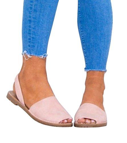 Summer Espadrille Platform Sandals on Pink Flat SEENFUN Women's Sandals Slip fwqnS15