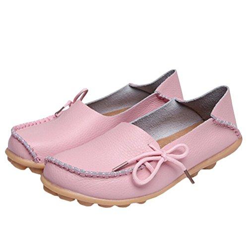 Mordenmiss Casual Effen Kleur Moccasins Lederen Loafer Schoenen Style 1-pink