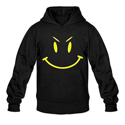 DVPHQ Men's High-quality Cute Evil Smiley Face Hoodie Size XL Black