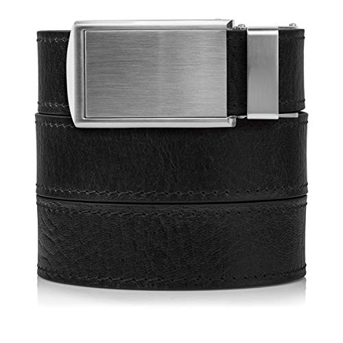 Top Mens Grain - Top Grain Black Leather Belt with Silver Buckle