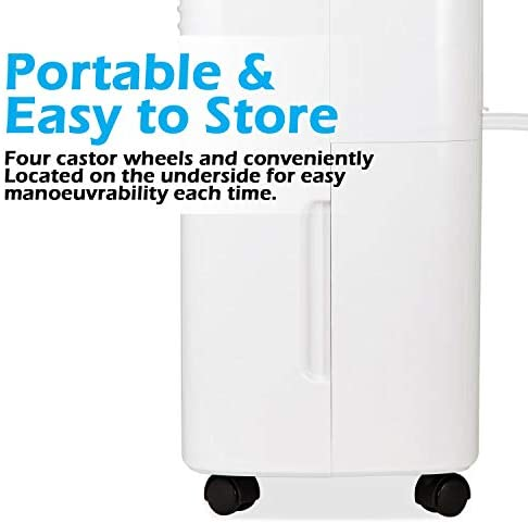 PureMate 10L Portable & Compact Dehumidifier 10 Litre, Digital Display, Continuous Drainage and 24Hr Timer Function, Ideal for Home or Office