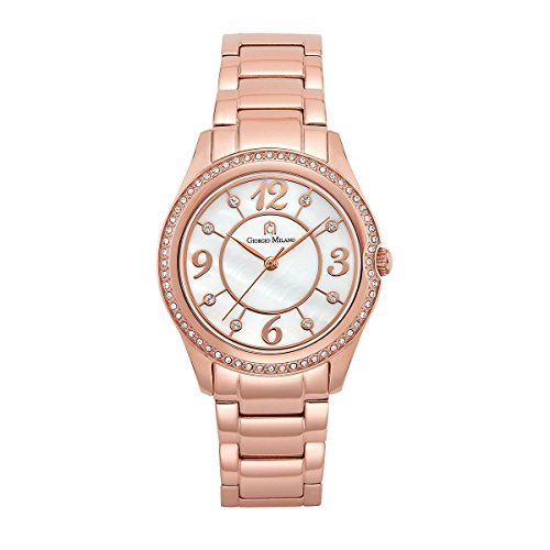 Bezel Mother Of Pearl Wrist Watch (Giorgio Milano 104RG2 IP rose gold stainless steel watch with mother of pearl dial w/Swarovski bezel)