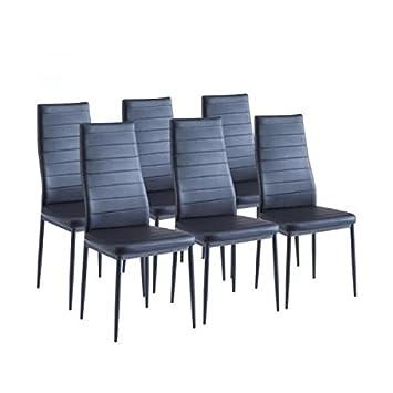 sam lot de 6 chaises de salle a manger noires