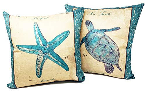 (Beach Throw Pillows| Decorative Throw Pillow Covers, 2 Pack 18 x 18 Inch| Coastal Beach Decor Couch Pillows with Starfish & Sea Turtle Theme)