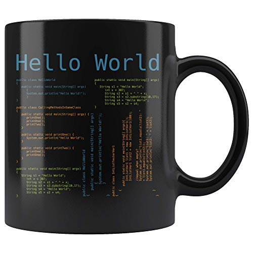 (Hello World Computer Programmer Coding Coffee Mug 11 Ounces Novelty Gift Coffee Tea Cup JS Javascript Developer Programming Language)