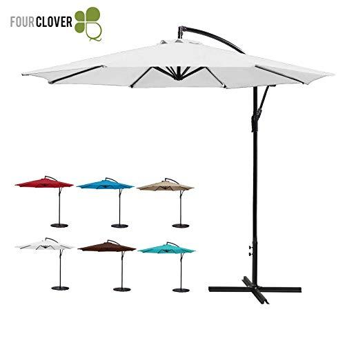 32' White Umbrella - FOUR CLOVER 10 Ft Patio Umbrella Offset Hanging Umbrella Outdoor Market Umbrella Garden Umbrella, 250g/sqm Polyester, with Cross Base and Crank (White)