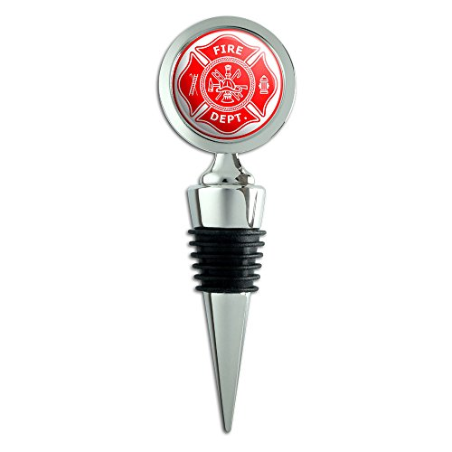 Firefighter Firemen Maltese Cross Red Wine Bottle Stopper