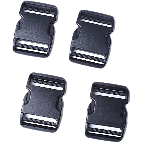 AXEN 4PCS Plastic Buckle, Dual Adjustable Side Quick Release Buckle for Bracelets Backpack Tactical Bag and Gear (1.5 inch)