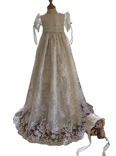 kelaixiang White/Ivory Lace Christening Dresses For Girls Baptism Gowns With Bonnet by kelaixiang