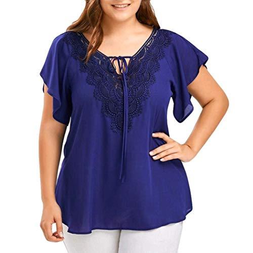 Large Femme Dentelle Manche Taille Uni Elgante Courtes Haut Style Tops Blouse Mode Cou Et Loisir Spcial Manches Blau Grande Shirt Mousseline V pissure q646TwXr