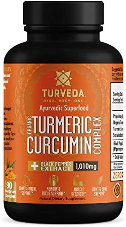TURVEDA Organic Turmeric Curcumin Capsules with BioPerine Black Pepper Extract Full Spectrum Turmeric 1010mg, 90 Count