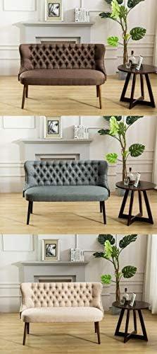 GTU Furniture Straight Back Tufted Linen Upholstered Love Seat Bench