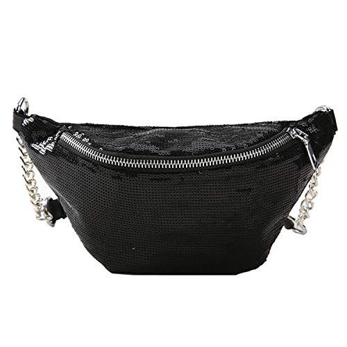 Running Exercise Belt - Waist Pack Women Mermaid Sequins Waists Trendy Packs Girls Belt Bag Reversible Waist Bags Black