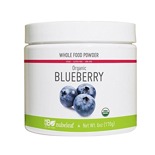 Nubeleaf Blueberry Powder - Non-GMO, Gluten-Free, Raw, Organic, Vegan Source of Essential Vitamins & Minerals - Single-Ingredient Nutrient Rich Superfood for Cooking, Baking, Smoothies (6oz)