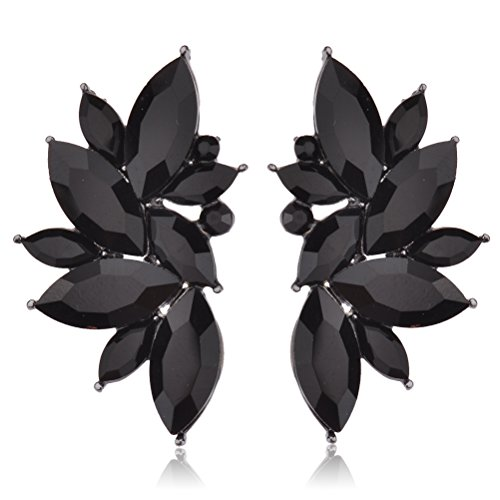 Leaf Black Cluster Crystal Stud Earrings for Women Girls by Ginasy