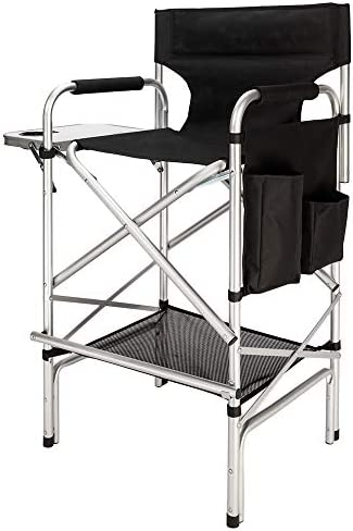 Mefeir 31 Tall Folding Director Chair with Side Table Storage Bag,Portable Makeup Artist Bar Height, Aluminum Frame 300 lbs Capacity, 33.8 L x 19.2 W x 45.6 H