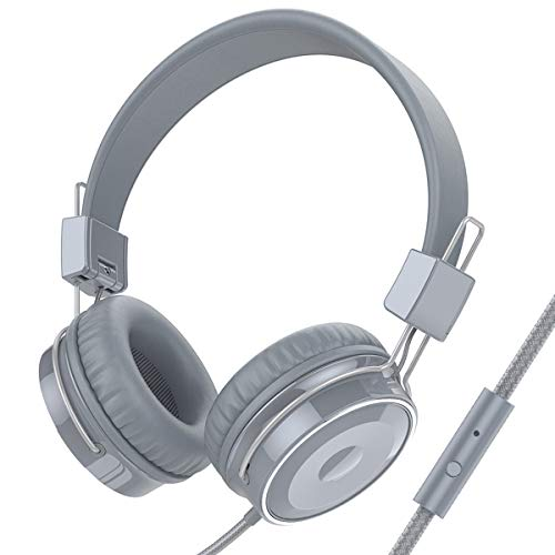 Baseman On Ear Headphones with Mic, Wired Lightweight Portable Folding Headsets Stereo Heavy Bass Earphones with 1.5M Tangle Free Cord and Microphone for Cellphones Laptop Tablet Mp4 Mp3 PC Grey