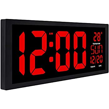 "TXL Extra Large Digital Clock with Indoor Temperature | Electronic LED Wall Clock with Date and Fold-Out Stand -14.5"" Black"