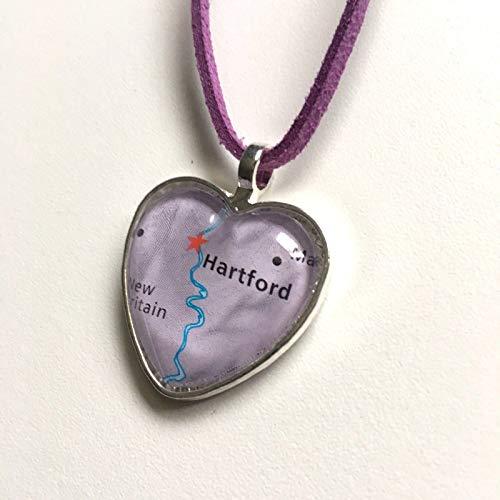Hartford Connecticut River Hartford Necklace Pendant Heart Atlas GH-665 ()