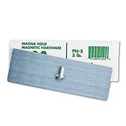 Magna Visual Products - Magna Visual - Magnetic Picture Hanger, 2 x 6, 5-lb Capacity, Steel Hook, Satin Steel Finish - Sold As 1 Each - Magnetic picture hanger with simple magnetic plate. - Attaches to metal surface to hang pictures, calendars, chart boar