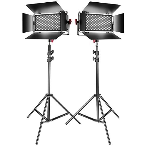 Neewer 2-Pack Dimmable Bi-color SMD LED Video Light and Stand Lighting Kit:384-piece LED Panel with U Bracket and Barndoor,3200-5600K,CRI 95+,78-inch Light Stand for YouTube Photography Video Shooting by Neewer