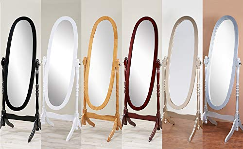 (GTU Furniture Swivel Adjustable Full-Length Oval Wood Cheval Floor Mirror, in White/Black/Cherry/Oak/Silver/Gold Finish)