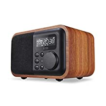 Multifunction Wooden Bluetooth Speaker With FM Radio Alarm Clock Display Time Digital Multimedia Hands-free Calls Remote Control