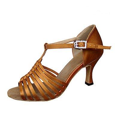 jazz latino Mysterious para Zapatillas profesionales sandalias práctica de principiantes tacón zapatos mujer Salsa Direct de satén caqui satén de baile talones balanceo RWRfz