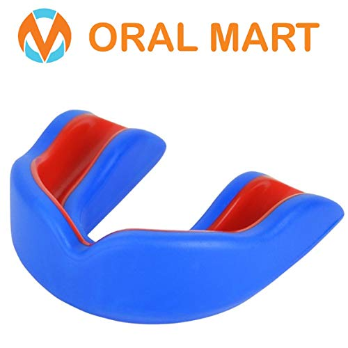 Oral Mart Blue/Red Youth Mouthguard for Kids - Youth Mouthguard for Karate, Flag Football, Martial Arts, Taekwondo, Boxing, Football, Rugby, BJJ, Muay Thai, Soccer, Hockey (with Free Case)