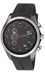 Puma PU103131002 Velocity Chronograph Black Silicone Strap Matte Ionized Stainless Steel Case Watch