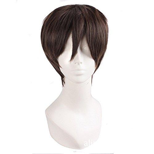 Cosparts Black Hair Wig Mikasa Levi Ackerman Eren Jaeger Cosplay Short Wigs For Men Women (Eren - Delivery Average Usps Time
