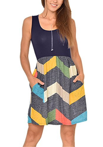 Poulax Women Casual Sleeveless Striped Print Swing Mini T Shirt Tank Dress with Pockets,Yellow,XL