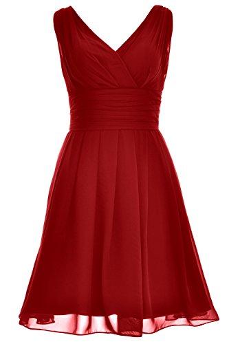 Short V Wedding Dress Party Burgunderrot Neck Elegant MACloth Bridesmaid Formal Gown xAUF5wq6q