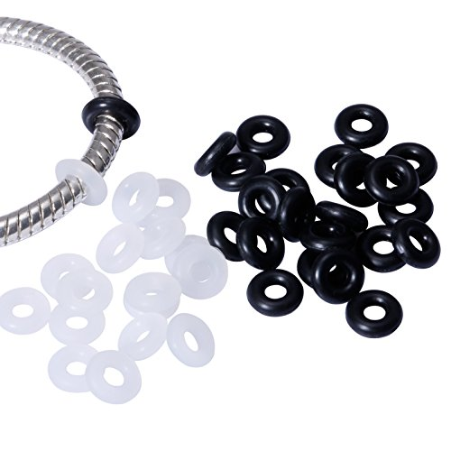 200 Pcs Silicone Rubber Stoppers Ring Bead Charms Bracelets for Snake Chain Or With Clip Lock Spacer Charm-100 Pcs Clear & 100 Pcs Black